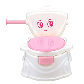 Potty Chair Baby Potty Kids Toilet Training Seat 3 in 1 Multifunction with Music Toilet Bowl Unisex Toilet Bowl Baby Toilet Pot Suitable for 1-6 Years Old Child,Pink CRZJ