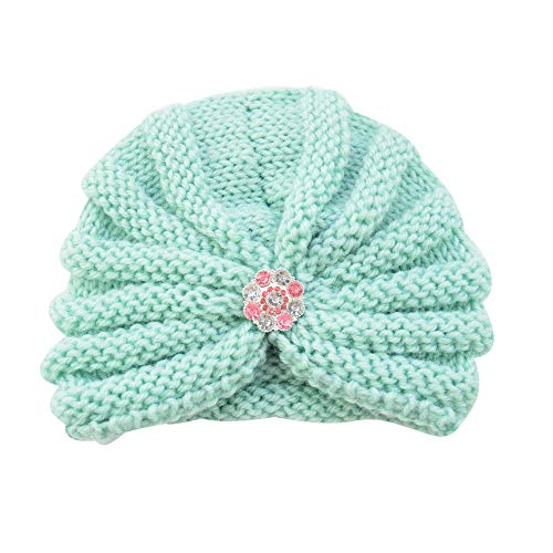 (Longay Baby Toddler Girls Boys Infant Warm Winter Knit Beanie Hat Crochet Ski Ball Cap (Mint Green))