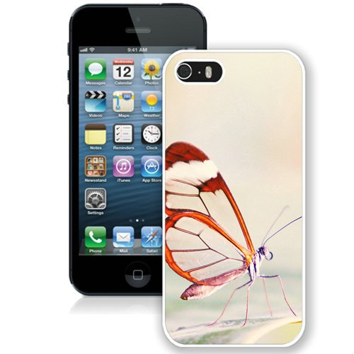 Coque,Fashion Coque iphone 5S Cute Butterfly Close Up blanc Screen Cover Case Cover Fashion and Hot Sale Design