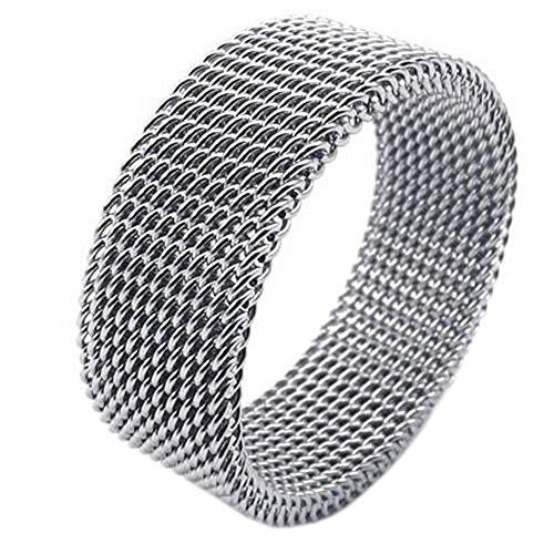 KONOV 8mm Flexible Stainless Steel Screen Mens Womens Ring, Woven Mesh Band, Size 11 (Stainless Mesh Ring Steel)