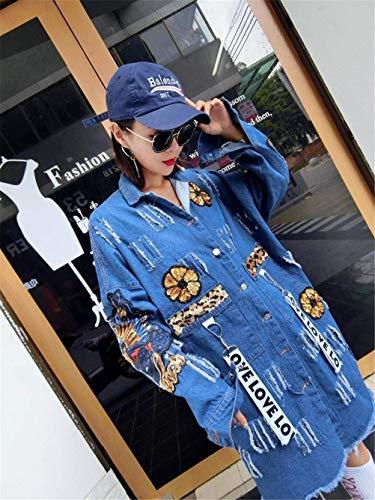 Jeans Blau Rasgado Lentejuelas Casuales Cazadoras Largos Denim Mujer Huixin Modernas Primavera Vintage Outerwear De Fashion Solapa Abrigo Jacket Vaqueras De Manga Agujeros Elegantes Otoño Anchas Larga qwg04O
