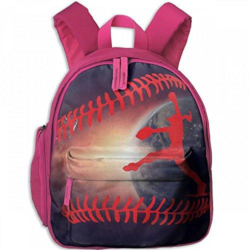 To Pitcher Basics Back (Red Softball Pitcher Catcher Children's Lightweight Canvas Travel Backpacks School Book Bag)