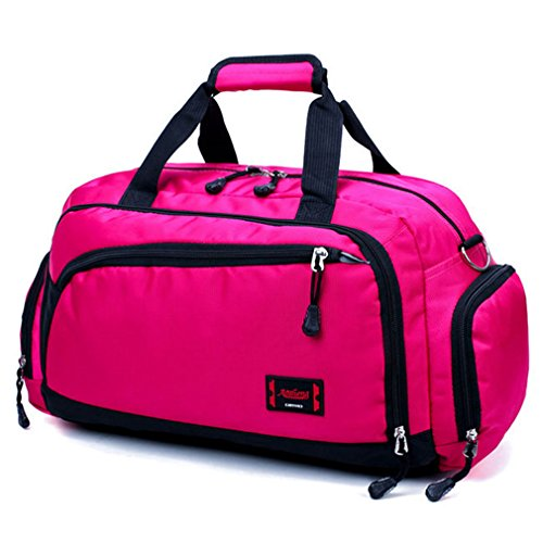 Women And Men Sport Gym Bags Duffle Bag Travle Bag Waterproof Fitness Shoulder Bag HY165 Rose ()