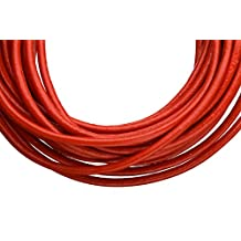 Full-grain leather cord, 3mm round red 5 yard