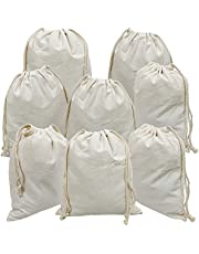 "Freletry 8 PCS 10""x12""/25x30cm Drawstring 100% Cotton Muslin Bags Reusable Storage Bag for Shopping Home Kitchen Food Grocery Vegetable Storage etc. (8 PCS 10""x12""/25x30cm)"