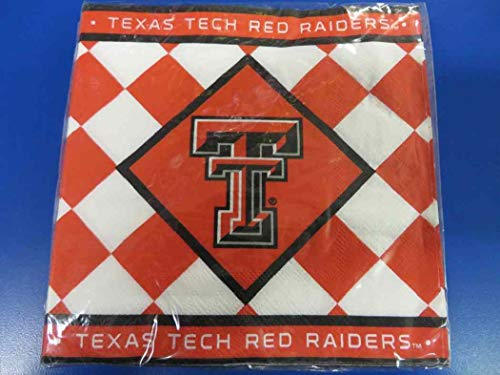 Texas Tech Red Raiders NCAA Napkins Football Game Day Sports Themed College University Party Supply NFL SEC Basketball Napkins for Beverage for 20 Guests Claret Red Black Checkered Napkins
