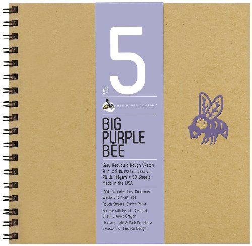(Bee Paper Company BEE-206CB50-909 Big Purple Bee Drawing Pad, 9 by 9-Inch, Gray Bogus)