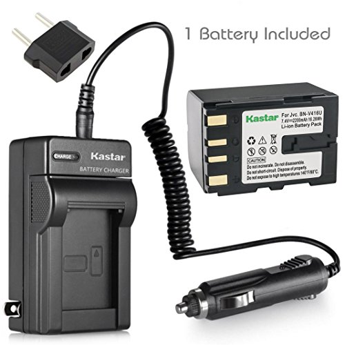 Kastar Battery (X1) & AC Travel Charger for JVC BN-V428, V428U, V408, V408-H, V408U, BN-V416, V416-H, V416U, BN-V438U and JVC CU-VH1, JY-HD10, JY-VS200, GR-D2000, GR Series GR-D2000 Video Camcorder