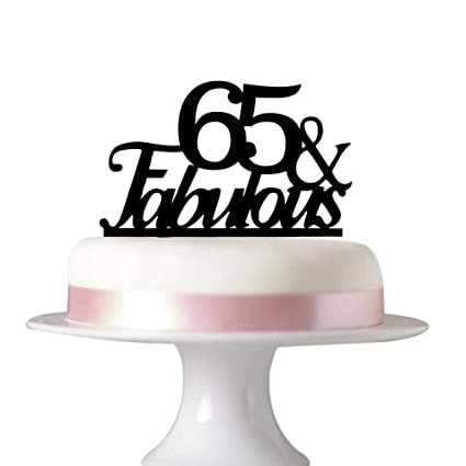 Succris 65 Fabulous Cake Topper For 65th Birthday Party Decorations Acrylic Black