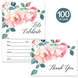Beautiful Invitations & Matched Thank You Cards Set with Envelopes ( 100 of Each ) Pink Floral Fill-in Any Occasion Bridal Shower Birthday Invites & Folded Blank Thank You Notes Best Value Combination