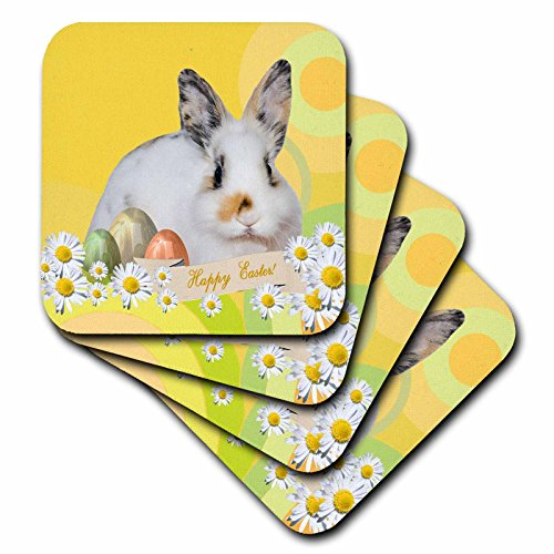 3dRose Calico Bunny Rabbit with Daisy Flowers and Three Easter Eggs, Happy Easter - Ceramic Tile Coasters, Set of 4 - Tile Coaster Daisy