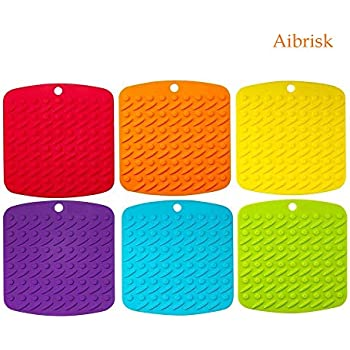 Aibrisk Silicone Pot Holder - Silicone Trivets Mats for Hot Dishes Pot Holders Heat Resistant, Spoon Rest and Garlic Peeler Non Slip Multipurpose Kitchen Tool 7x7