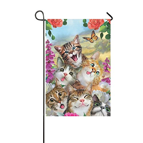 Rossne G sun Garden Flag Cat Selfie Flower Butterfly House Flag Decoration Double Sided Flag 12.5