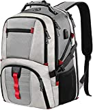 TSA Laptop Backpack,Extra Large Durable Travel Computer Backpack with USB Charging Port for Men & Women,Water Repellent Business Computer Daypack College School Bookbag for 17Inch Notebook/Laptop-Grey