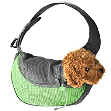 Yerwal Portable Pet Dog Durable Carrier Sling Backpack Carrier Breathable Mesh Travel Tote -Small/Green & Grey