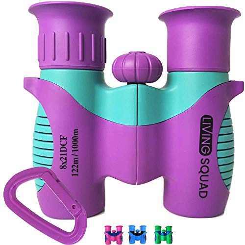 Kids Binoculars 8x21 - Purple Girls Gift Age 3-12, Shockproof Compact Binoculars for Kids with High Resolution Optics for Bird Watching, Stargazing, Hunting, Hiking, with Case, Neck Strap