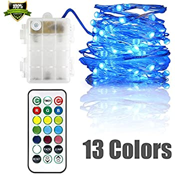 Fairy Lights Battery Powered LED String Lights Multi Color Changing Twinkle Lights Dimmable String Lights 50leds 16ft RGB with Remote Control for Bedroom Garden Wedding Christmas New Year Decor