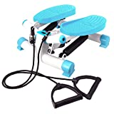 Mini Stepper Exercise Machine with Resistance Bands & LCD Display Pedometer, Compact Aerobic Fitness Step Exerciser by FoFxly