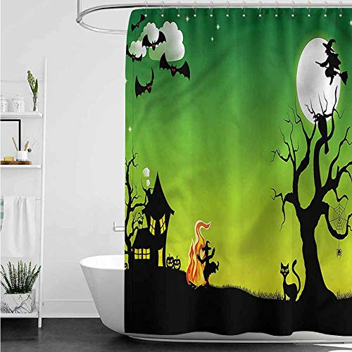 homecoco Shower Curtains Fabric Victorian Halloween,Dancing Witch W48