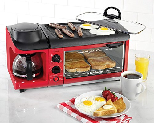 3-In-1-Breakfast-Station-Toaster-Oven-Griddle-Coffee-Maker-Retro-Mini-Kitchen
