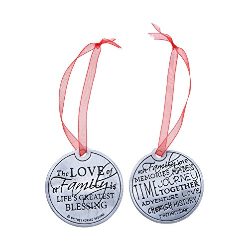 Two-Sided Pewter 'Family' Ornament on Bells Backer Card