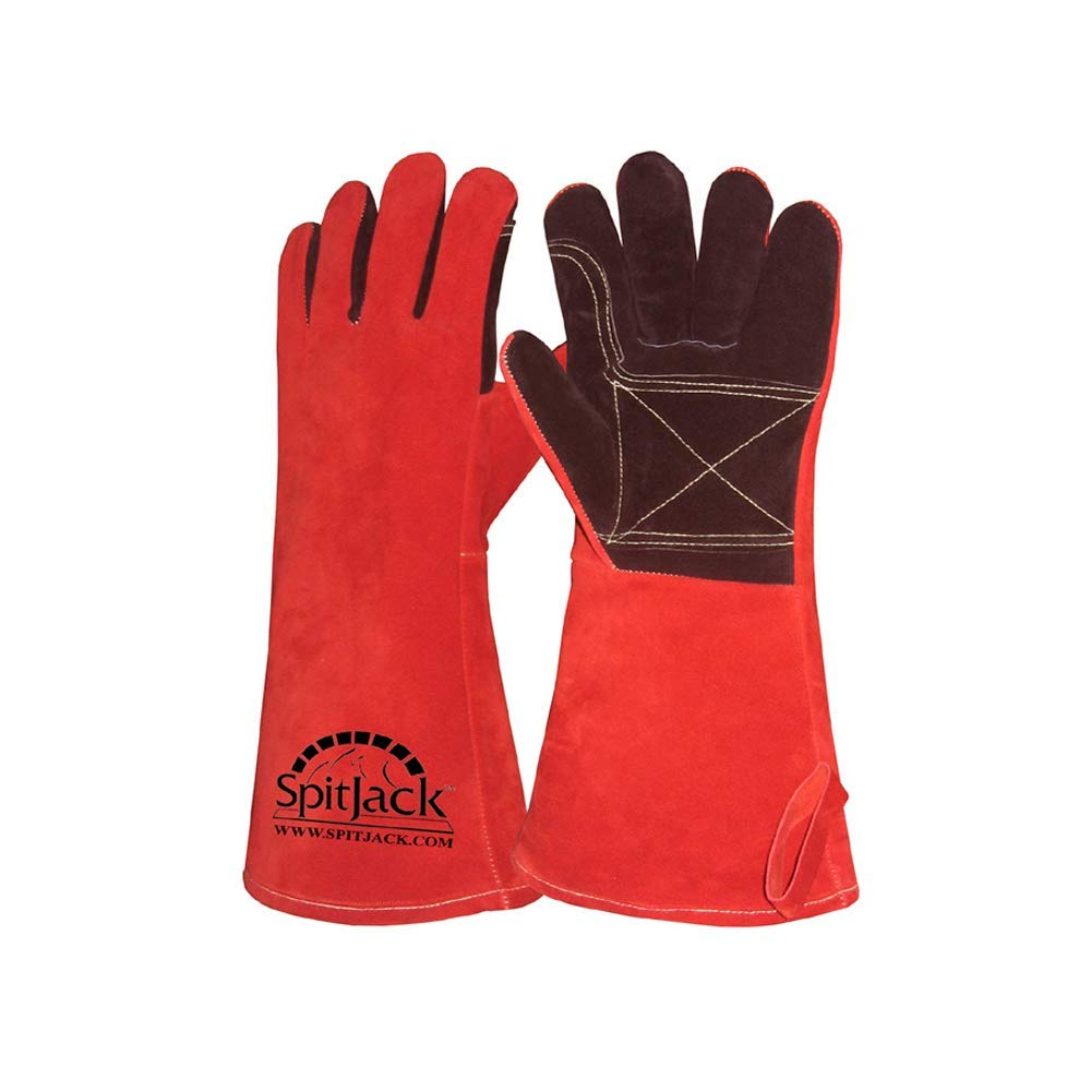 SpitJack Heat Resistant Fire Protection Gloves for Grill, Welding, Fireplace Cooking, Wood Stove, Oven and BBQ by SpitJack