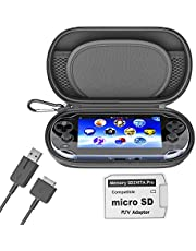 Skywin Kit for PS Vita - PS Vita Carry Case, Charging Cable, and Micro SD Memory Card Adapter Compatible with PS Vita 1000/2000 3.6 or HENkaku System