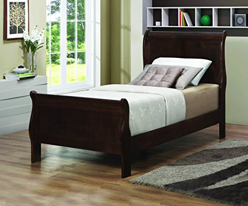 Coaster Home Furnishings 202411Q Traditional Twin Bed, Cappuccino - Wood Twin Sleigh