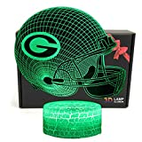 Deal Best NFL Team 3D Optical Illusion Smart 7 Colors LED Night Light Table Lamp with USB Power Cable (Green Bay Packers)