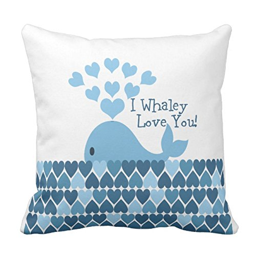 UOOPOO I Whaley Love You! Blue Cotton Canvas Pillow Case 18 x 18 Inches Square Happy New Year Cushion Cover for Sofa Print One Side ()