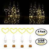 Diy Kitchen Decor Wine Bottle Lights USB Powered Rechargeable 32inch/80cm 15 LED Cork Shaped Copper Wire String Starry LED Lights for DIY,Home kitchen Decor,Outdoor,Wedding Warm White 4 Pack