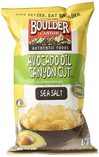 Boulder Canyon Natural Foods Avocado Oil Canyon Cut Chips, Sea Salt, 5.25