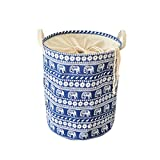 Anzirose Round Laundry Hamper with Waterproof Coating Cotton Linen Collapsible Clothes Toys Storage Organizer Bin with Handles and Cover - Blue Elephant