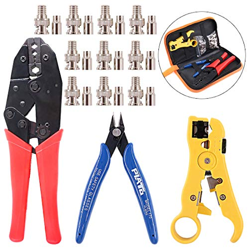 Swpeet 13Pcs Professional Coax Coaxial BNC Connector Crimp Crimping Tool Kit with 10PCS CCTV BNC Crimp Connector, Extra Wire Stripper Cutter and Side Pliers Perfect for RG55, RG58, RG59, RG62, 5, 6