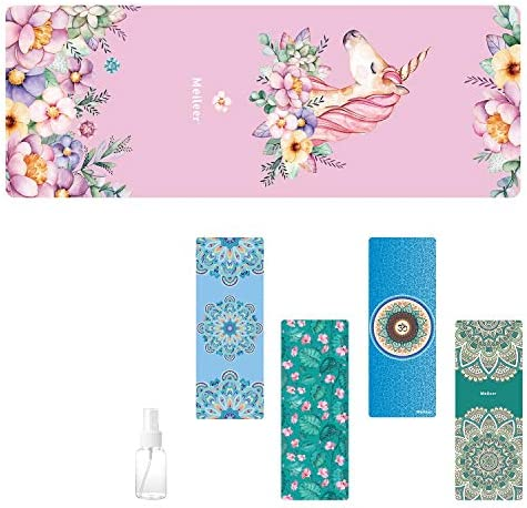 Travel Yoga Mat, Sweat Absorbent Anti Slip Foldable Yoga Mat, Luxury Premium Design Eco Friendly Yoga Mat for Travel, Yoga and Pilates with Carrying Bag and Spray Bottle