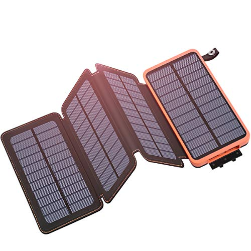 Tranmix Solar Charger 25000mAh Portable Power Bank with 4 Solar Panels 6W Power Phone Charger for Smart Phones, Tablets and Outdoor Waterproof (Power Bank For Smart Phones)
