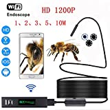 Wireless Endoscope for IOS Android, Minritech WIFI Borescope with 1200P HD Camera IP68 Waterproof Semi-rigid Snake Cable for Smartphone/PC, Inspection Motor Engine/Sewer/Pipe/Vehicle (10 Meters)