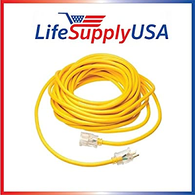 10/3 SJT Full Copper Lighted End Extension Cord 25-100ft, 15 Amp, 125 Volt, 1875 Watt, Super Heavy Duty Outdoor Jacket by LifeSupplyUSA