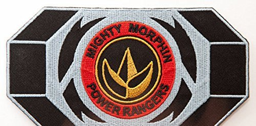 Black Dino Thunder Power Ranger Costume (Mighty Morphin Power Rangers Embroidered Iron on Patch / Green Ranger Morpher Belt Buckle Badge Dragon Logo Applique Costume Fancy Dress)