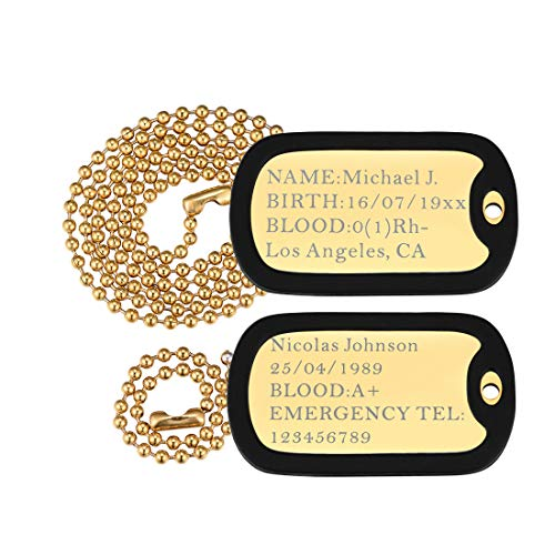 (U7 Custom Engraved 2 Pcs Dog Tags Pendant with 18K Gold Plated Chain 23