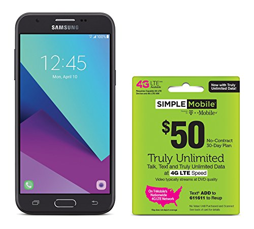 Simple Mobile Samsung Galaxy J3 Luna Pro 4G LTE Prepaid Smartphone with Free $50 Unlimited Bundle