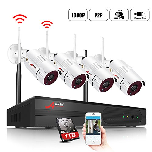 ANRAN HD Wireless Security Camera System 4CH 1080P WiFi NVR with 4 IP Cameras 1TB Hard Drive Indoor Outdoor Home Video Surveillance System with Night Vision Plug Play Free App Motion Detection Alarm