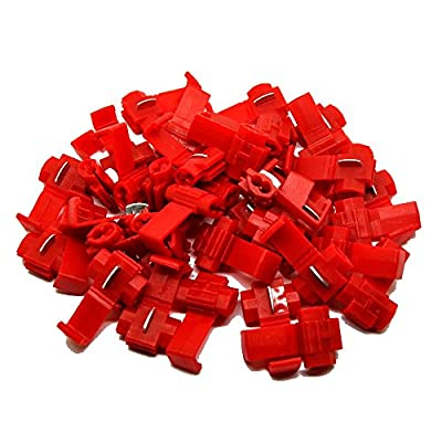 MUYI 100 Pcs Red Electrical IDC 0.5-1.0mm² Wire Connector Double Run or Tap 22-18 AWG (Tap), 18-14 AWG (Run) 0.75x1.26in. (WxL) 10A Max. Current Flame Retardant One Pack (Red)