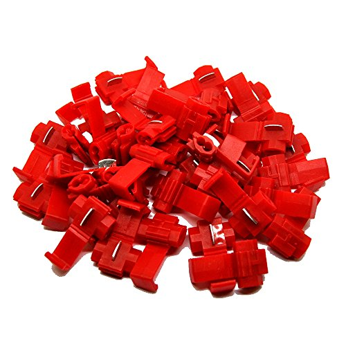 (MUYI 100 Pcs Red Electrical IDC 0.5-1.0mm² Wire Connector Double Run or Tap 22-18 AWG (Tap), 18-14 AWG (Run) 0.75x1.26inches. (WxL) 10A Max. Current Flame Retardant One Pack (Red))
