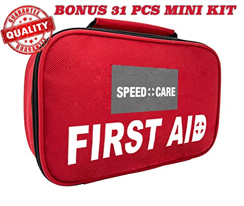 2-in-1 All-Purpose Small First Aid Kit 116 Pieces + Bonus Compact 31 PCs Mini First Aid Kit for Emergency, Home, Work, Outdoor, Camping, Car, School, Office, Sports, Travel, Hiking & Survival by SPEEDCARE