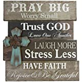 Young's Wood Pray Big Wall Sign with Cross, 21.75""