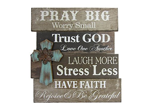 Young's Wood Pray Big Wall Sign with Cross, (Rustic Wall Cross)