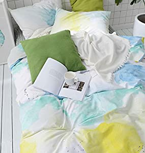 Watercolor Duvet Cover Set, 100% Cotton Bedding, Teal Blue Yellow Gray Painting Pattern Printed on White, with Zipper Closure (3pcs, Queen Size)