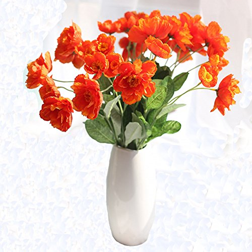 15 Pcs latex Corn Poppies Decorative Silk fake artificial poppy flowers for Wedding holiday Bridal Bouquet Home Party (Poppy Arrangement)