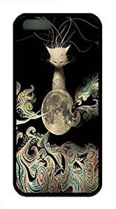 iPhone 5S Case, iPhone 5S Cases -Lunar Kitten TPU Rubber Soft Case Back Cover for iPhone 5/5S ¨CBlack